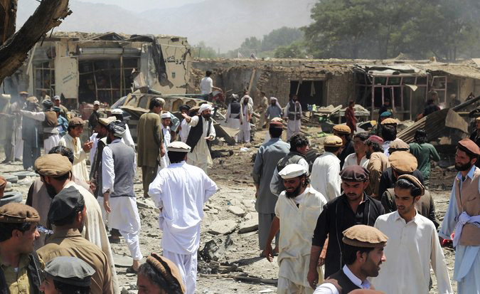 Photo: Afghan market bombing kills 6