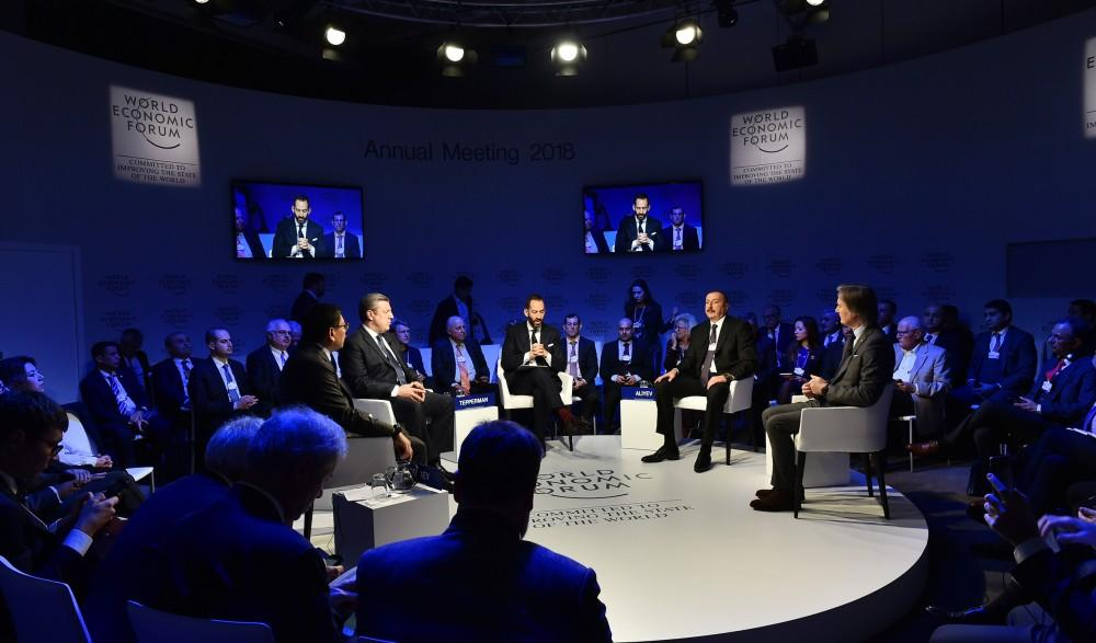 """President Aliyev attends """"Strategic Outlook: Eurasia"""" interactive session as part of WEF (PHOTO)"""