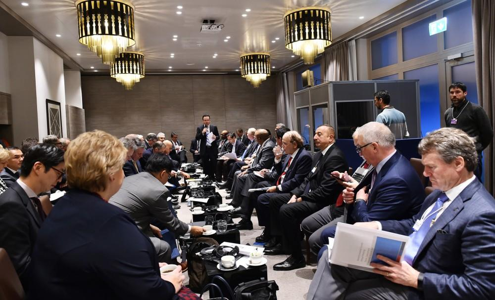 President Ilham Aliyev attends oil and gas panel within forum in Davos (PHOTO)