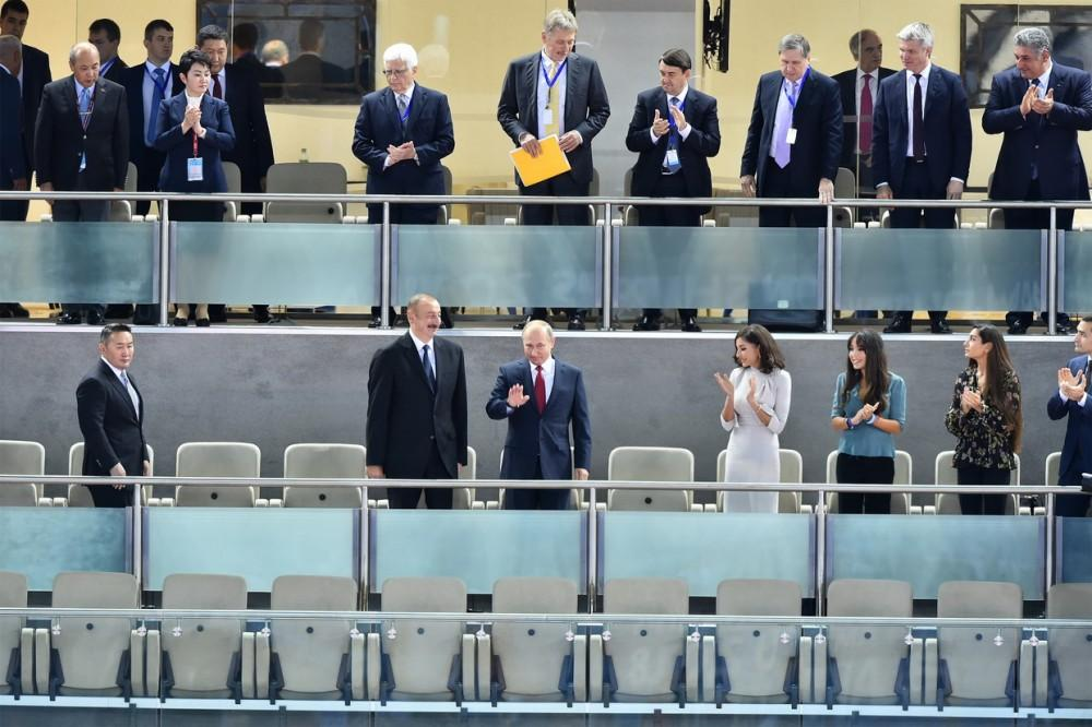 Azerbaijan's president, first VP, Russian, Mongolian presidents watch competitions at World Judo Championships (PHOTO)