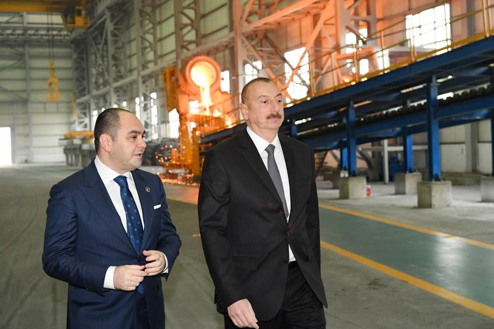 Azerbaijani president opens non-ferrous metals and foundry plant in Sumgait (PHOTO)