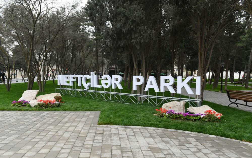 Azerbaijani president, First lady view conditions created at reconstructed Neftchilar park in Baku (PHOTO)