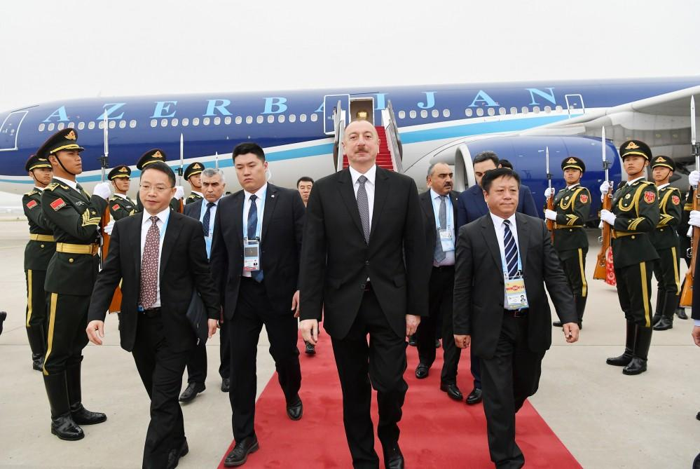 President Ilham Aliyev arrives in China for working visit (PHOTO)