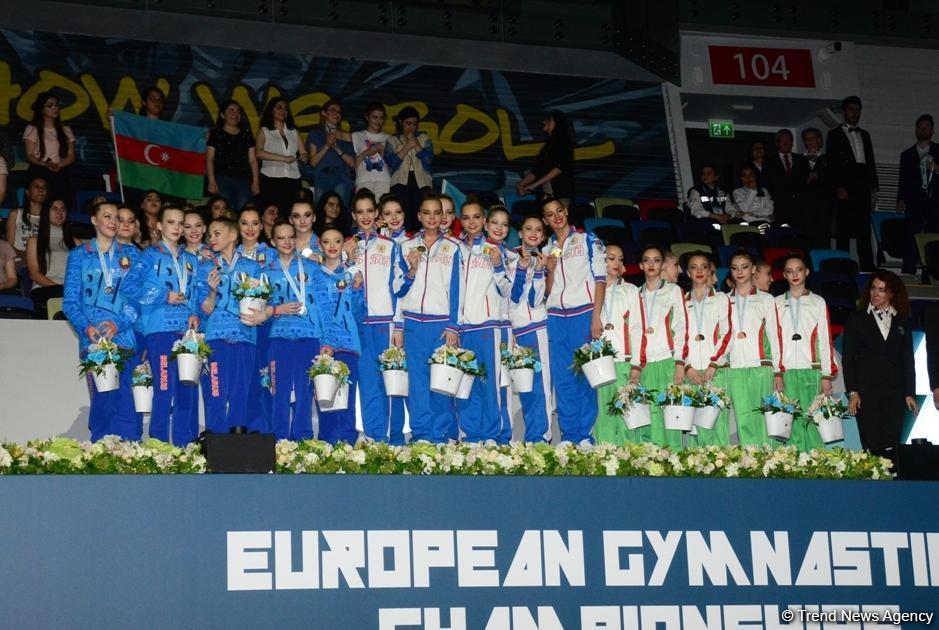 В Баку состоялась церемония награждения победителей Чемпионата Европы в командном зачете и в многоборье групповых упражнений (ФОТО)