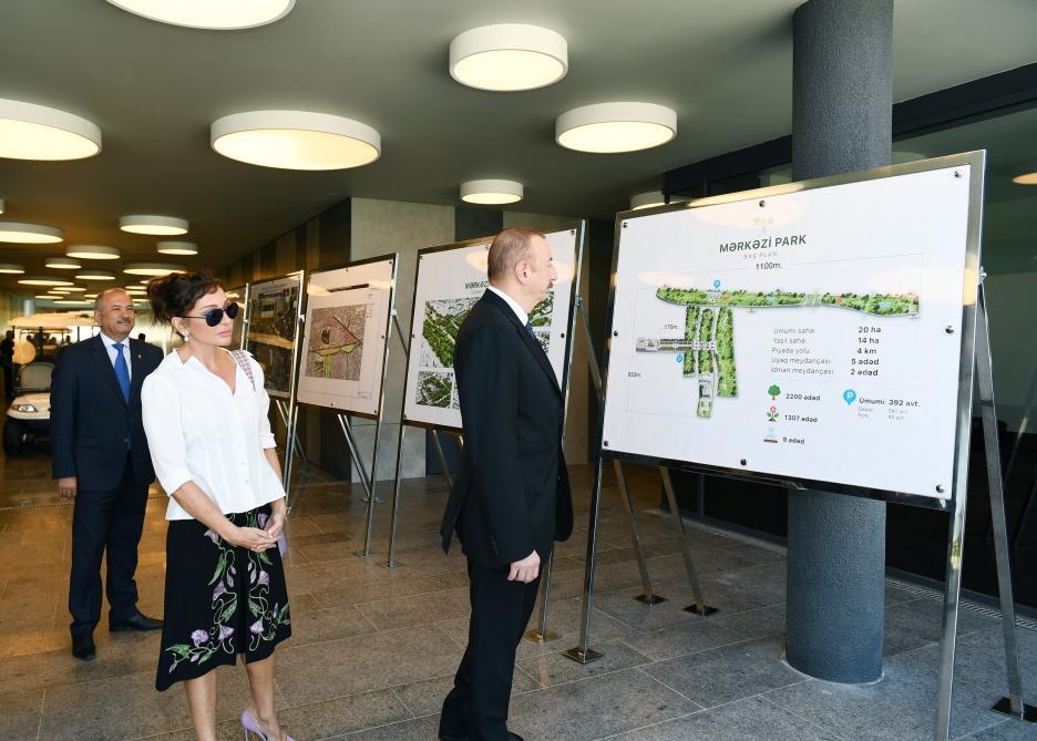 Президент Ильхам Алиев и Первая леди Мехрибан Алиева приняли участие в открытии Центрального парка и сквера в Баку (ФОТО)