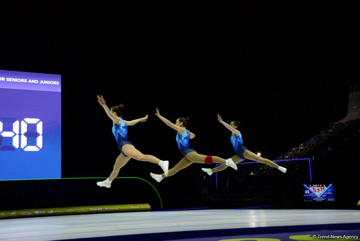 Milli Gimnastika Arenasında aerobika gimnastikası üzrə Avropa çempionatının iştirakçılarının podium məşqləri keçirilir (FOTOREPORTAJ)