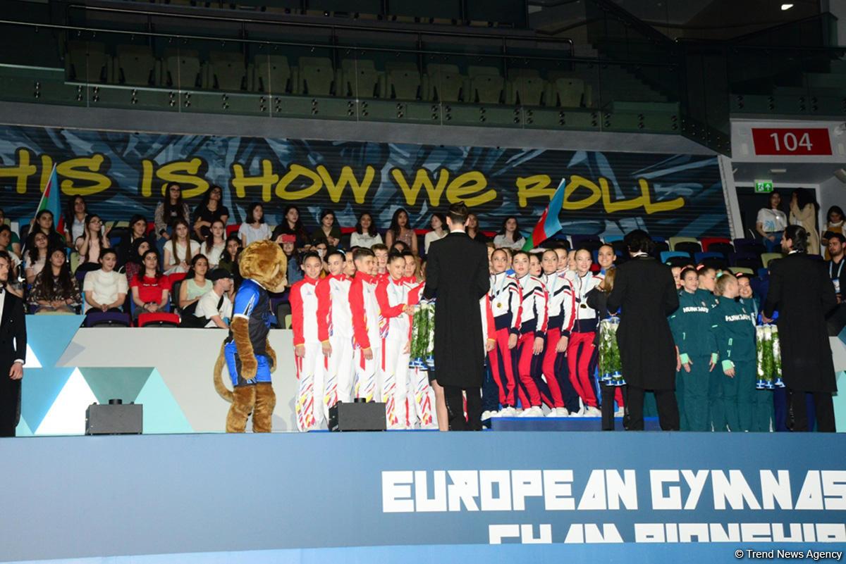 Awarding ceremony of winners of European Aerobic Gymnastics Championships in junior team competition held in Baku (PHOTO)