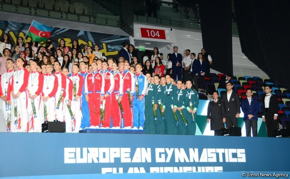 Awarding ceremony of winners of European Aerobic Gymnastics Championships in team competition among senior gymnasts held in Baku (PHOTO)