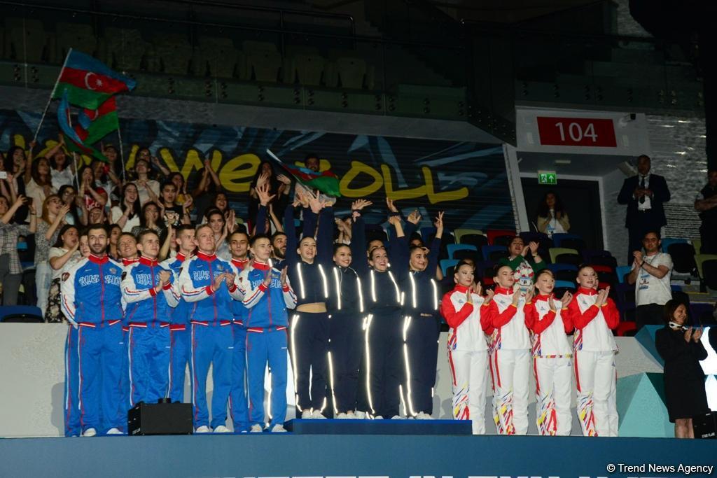 В Баку прошла церемония награждения победителей Чемпионата Европы в составах трио, групп и программе аэро-данс (ФОТО)