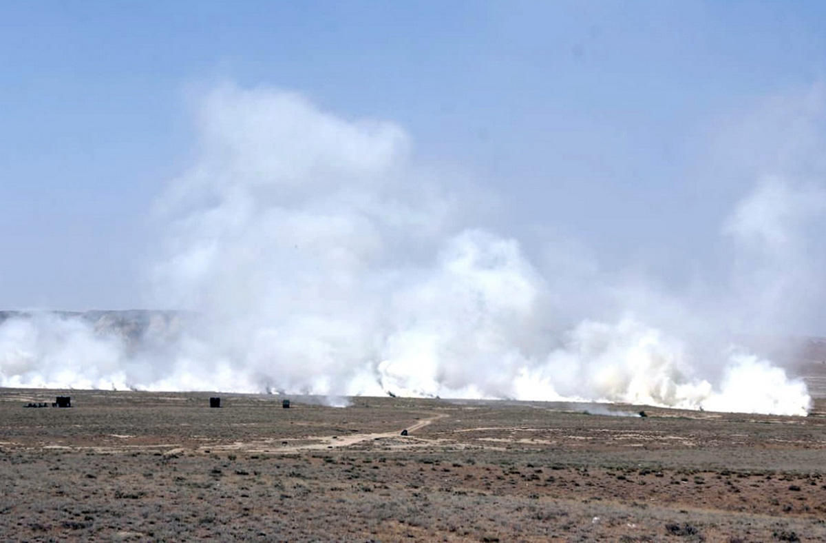 Azerbaijani units of chemical protection troops hold drills (PHOTO/VIDEO)