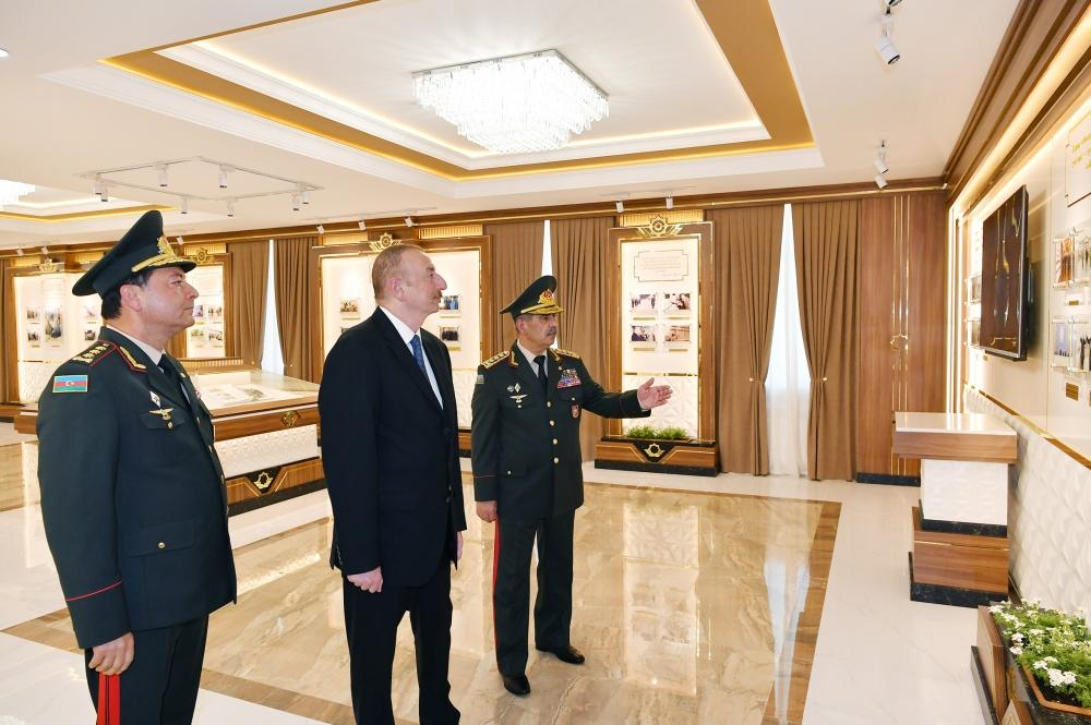 Azerbaijani President views conditions created at newly-reconstructed Military Lyceum named after Jamshid Nakhchivanski (PHOTO)