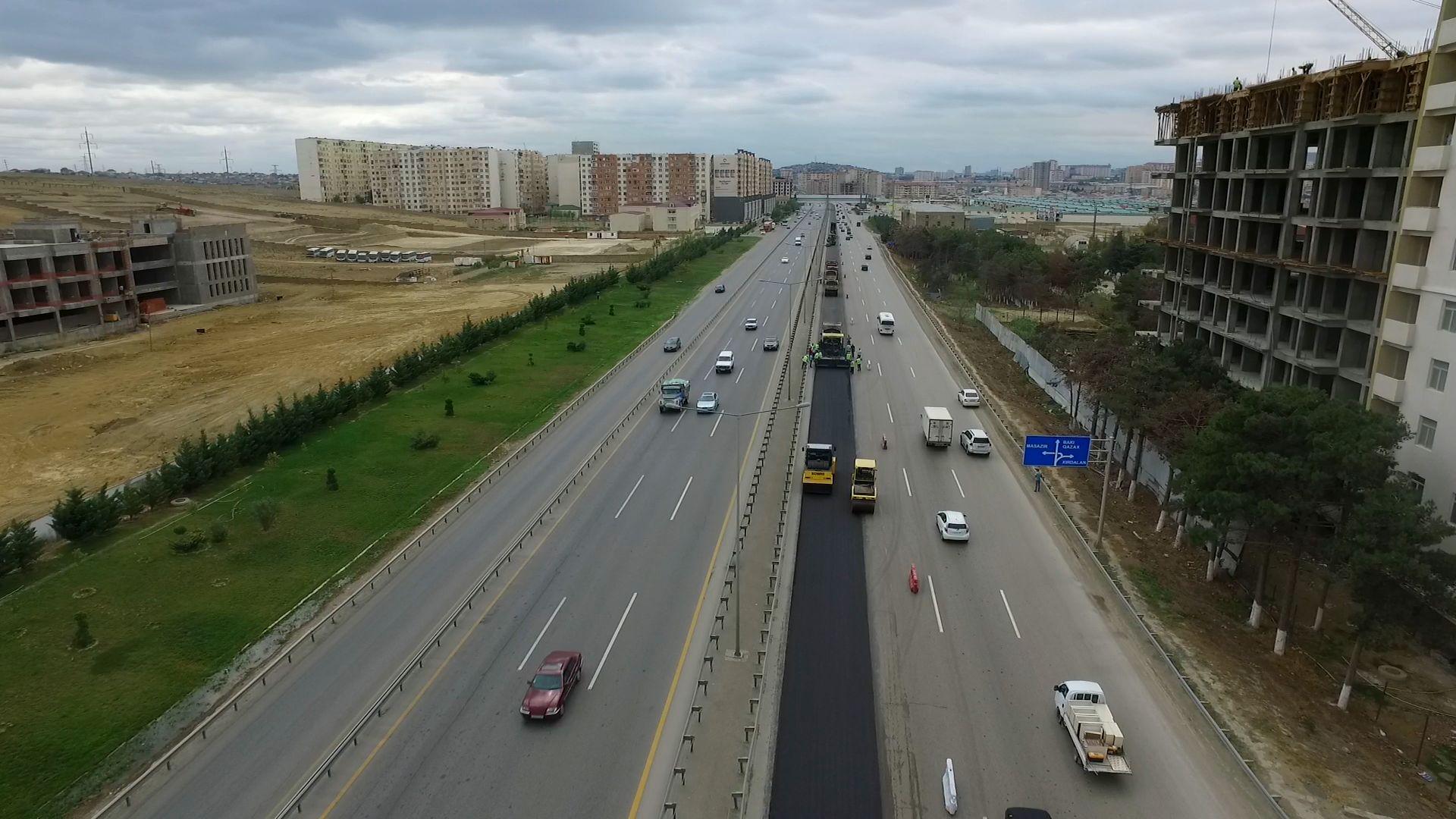 Bakı-Quba-Rusiya avtomobil yolu yenidən qurulur (FOTO)