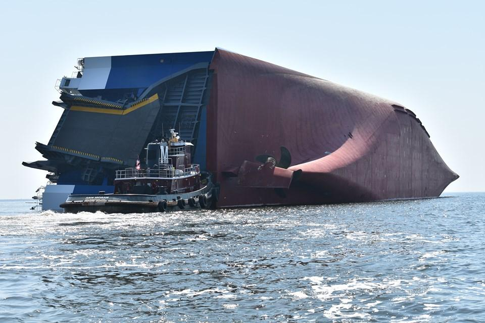Ship overturns near Georgia port; 4 crew members missing