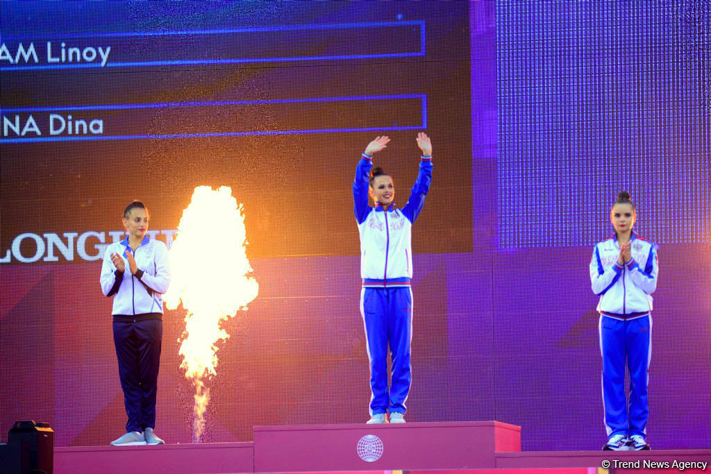 Baku hosts award ceremony for winners in finals of individual exercises at 37th  Rhythmic Gymnastics World Championships