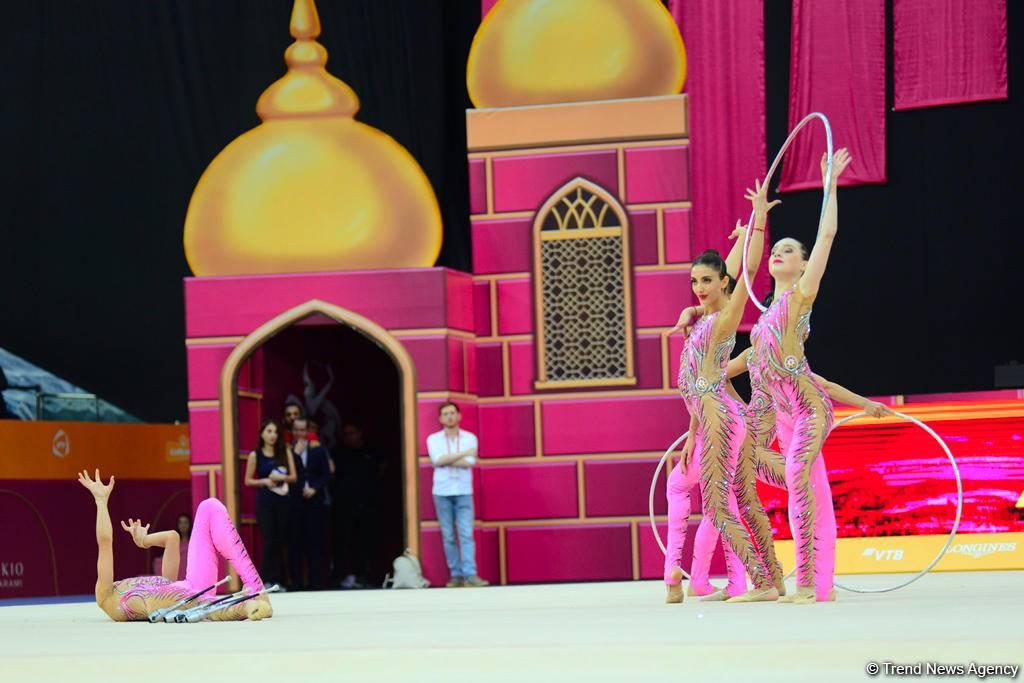 Team competitions in group exercises underway at 37th Rhythmic Gymnastics World Cup in Baku (PHOTO)
