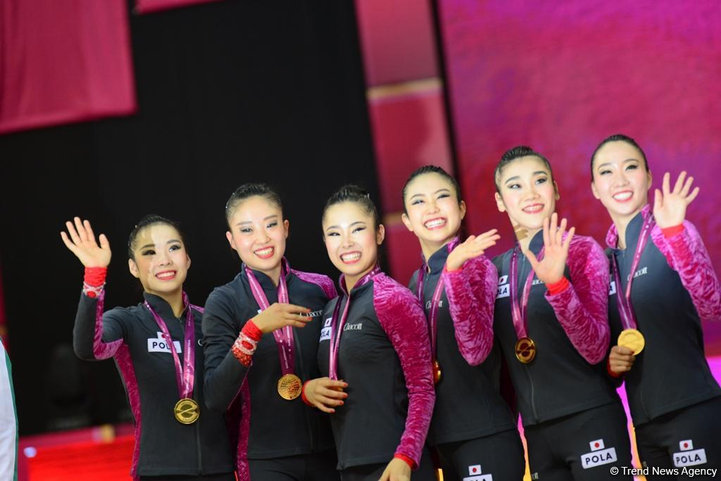 Awarding ceremony held for winners of group exercises at 37th Rhythmic Gymnastics World Championships in Baku (PHOTO)