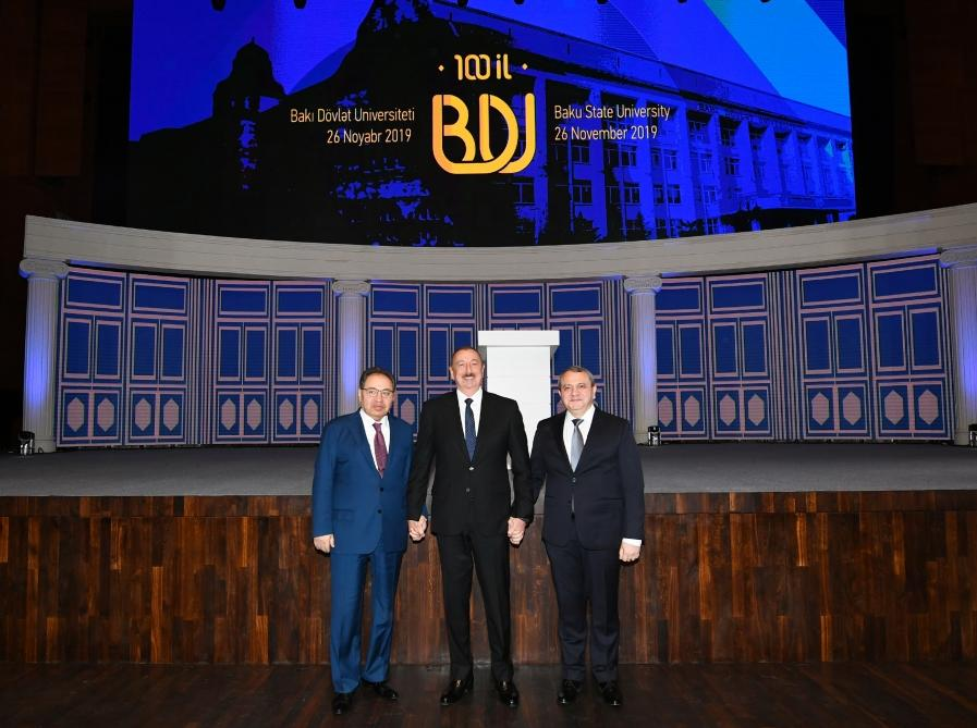 President Aliyev attends ceremony to mark 100th anniversary of Baku State University (PHOTO)