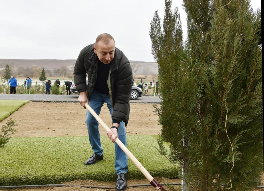 President Ilham Aliyev, First Lady Mehriban Aliyeva attend tree-planting campaign in Shamakhi district (PHOTO)