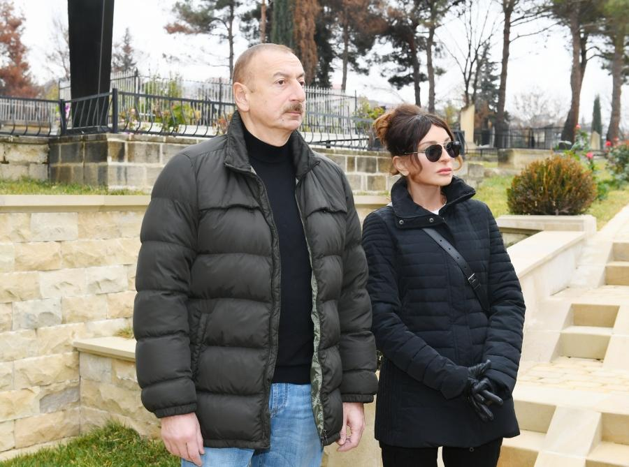 Azerbaijani president, first lady view landscaping work done around Shahkhandan tomb in Shamakhi (PHOTO)