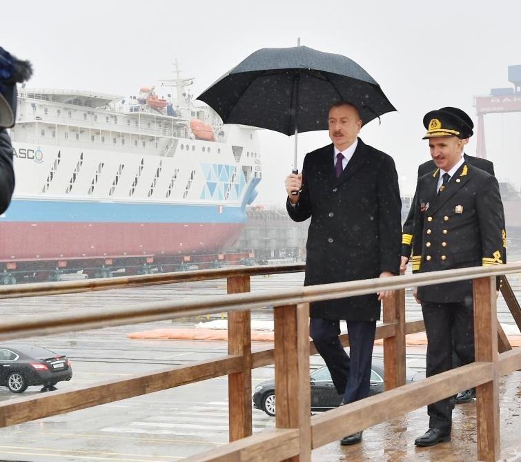 Azerbaijani president attends ceremony to launch first tanker built at Baku Shipyard (PHOTO)